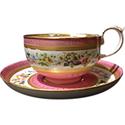 Authentic mid 19th century French Sevres cup and saucer set with salmon glaze and gold ...