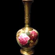 """SALE Royal Worcester Hadley Roses 6.5"""" tall vase artist signed EM Fildes circa 1921 ..."""
