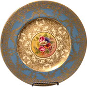 "Royal Worcester 9"" artist signed floral plate by Jack Stanley with roses and gold gilt .."