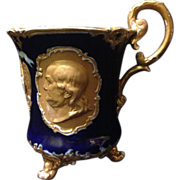 Meissen Centennial Rococo Revival Washington and Franklin footed cobalt and gold gilt mulled .