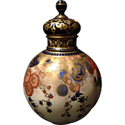 Royal Crown Derby reticulated covered vase w Imari colors heavy gold gilt and jeweling 9 ...