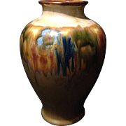 """Royal Doulton drip lustre floral glaze affect 7.5"""" Nouveau Baluster style vase w internal"""