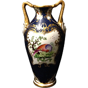 """SALE Grainger Worcester 7.25"""" vase with Chelsea Bird of Paradise and cobalt glaze with .."""
