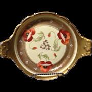 T&V Limoges Pickard Studio artist signed Fuchs Red Poppy Gold gilt dish tray