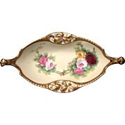 T&V Limoges Studio Decorated and Artist Signed Barre Rose and Gold Relish Tray