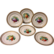 Set of 6 Old Paris jeweled beaded Hand Painted Fruit Plates Exceptional Artistry