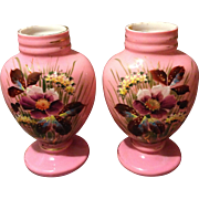 "Pair of Bristol Pink Cased Glass 9.5"" Vases w Heavy Enamel Beaded Flowers"