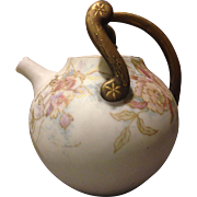 JPL Pouyat Limoges Rare Aesthetic Movement Teapot w HP Flowers and Gold Gilt