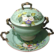 Vista Alegre Portugal Porcelain Mint Green HP Floral and Bird Tureen with Under Tray and ...