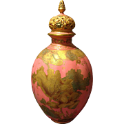 "Royal Crown Derby 14.5"" Coverd Vase Potpourri with Pink Salmon Glaze and Gold Gilt ..."