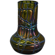 Art Nouveau Iridescent Threaded Reeded Vase