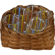 Glass Tumblers in Basket for Dollhouse