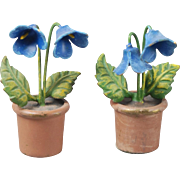 Two Metal Flower Pots for Dollhouse
