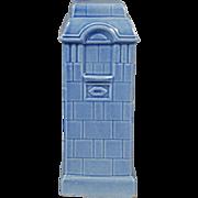 Beautifully Modeled Heating Stove in Blue Glazed Porcelain