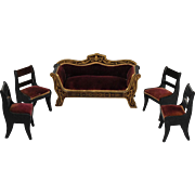 Biedermeier Sofa Set in Burgundy Velvet,