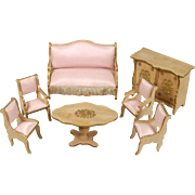 French Seven-piece Wooden Parlor Dollhouse Suite