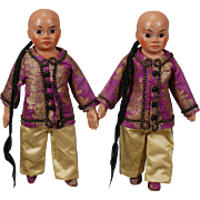 Sonneberg Wax Over Asian Twins Dolls