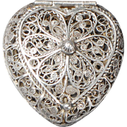 Silver Filigree Heart-shaped Box