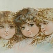 """Yard of Lovely Little Girls"" Chromolithograph"
