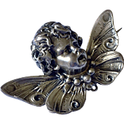 Antique Signed CHERUB Angel PUTTI German Repousse Brooch Sterling Silver