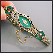 Art Deco Diamond Chrysoprase 14K White Gold Filigree Bracelet