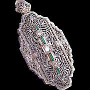 Art Deco Platinum Diamond Emerald Colored Stones 14K Gold Pendant Pin