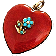 Rare Victorian Guilloche Turquoise Puffy Heart Locket Forget-Me-Not