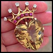 Huge Art Deco Diamond Ruby Quartz Heart Crown 14K Brooch Pendant