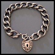 SOLD Antique Victorian Puffy Heart Padlock Bracelet