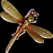 SOLD Rare Antique Art Nouveau Demantoid Garnet Diamond Dragonfly 14K Gold Veil Clip