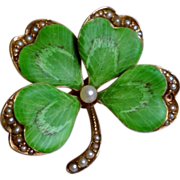 Antique Art Nouveau 14K Gold Enamel Pearl Lucky Clover Brooch