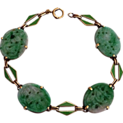 Art Deco Natural Jade Jadeite Enamel 14K Gold Bracelet