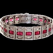 Art Deco Pierced Filigree Ruby Colored Stones Sterling Bracelet
