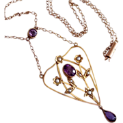 Antique Edwardian Amethyst Seed Pearl 9ct Gold Lavaliere Necklace