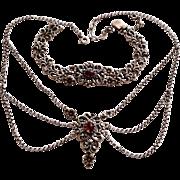 Antique Austro-Hungarian Garnet Silver Renaissance Revival Victorian Necklace Bracelet