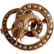 Antique Victorian Snake Serpent Diamond Emerald 14k Gold Pearl Watch Pin Brooch