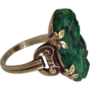 Fine Art Deco Natural Carved Jade Jadeite 14K Gold Signed Walter Lampl Ring