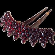 Antique Bohemian Garnet Tiara Victorian Comb Faux Tortoise