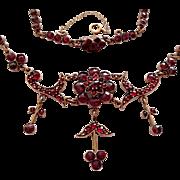Antique Victorian Bohemian Rose Cut Garnet Festoon Necklace Jeweled Clasp