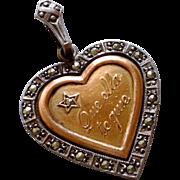 Antique Art Nouveau Heart Rebus Gold Silver Pendant Charm