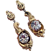 Antique Victorian 14K Gold Diamond French Paste Earrings
