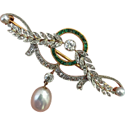 Rare Belle Epoque Edwardian Platinum Diamond Emerald Pearl Gold Brooch