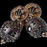 Antique Victorian 14K Gold Enamel Cannetille Drop Earrings