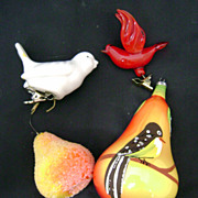 SALE Christmas Ornaments: Hand painted Italian and Beaded  Pears (one each) and 2 clip on ...
