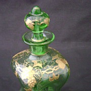 SALE Green glass with gold overlay perfume bottle