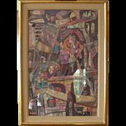 """Original Paul Shimon Gouache Painting """"Lost City, #1"""""""