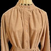 SOLD Vintage Faux Suede Button Front Dress
