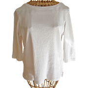 Pierre Cardin White Cotton Knit Blouse