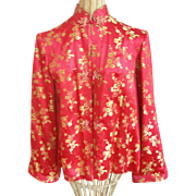 Vintage Ying Tai Co. Red Silk Brocade Ladies Jacket