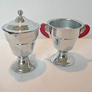 REDUCED Art Deco Chrome Cream and Sugar Set